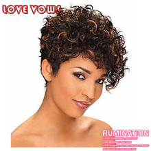 Peruca Curta Short Wigs for black women Afro Kinky Curly pelucas pelo natural None Lace pixie cuts wig Hair With Bangs