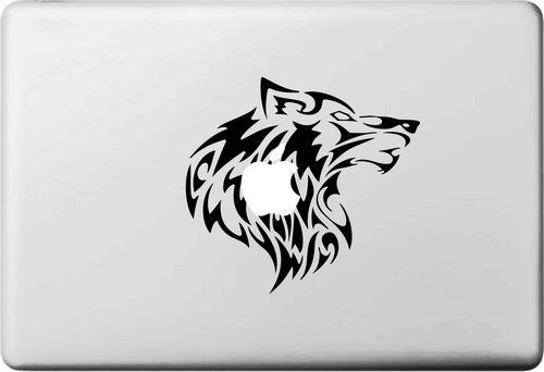 Wolf Head Logo Sticker for apple macbook Decal air 11 12 13 pro 13 15 17 retina Pegatinas Laptop Wall Car Stickers Vinyl Skin(China (Mainland))