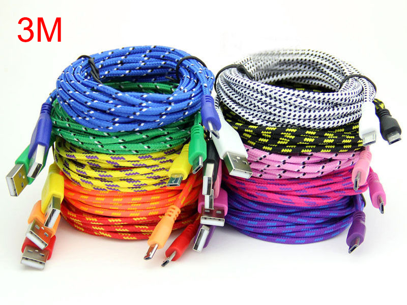 3M Length Micro Usb Charging Cable Of Colorful Mixing Braided USB Line Synchronization for Samsung HTC LG Huawei Smart Phone(China (Mainland))