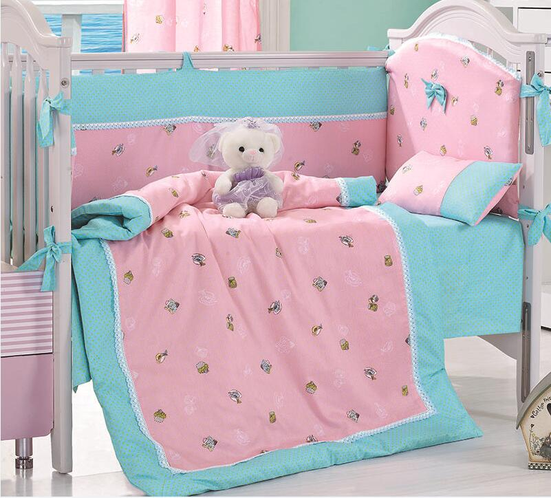 8 Pieces Toy Bear Pink Baby Bedding Set Baby Nursery Cot Ropa de Cama Crib Bumper Quilt Fitted Sheet Dust Ruffle With Quilt(China (Mainland))