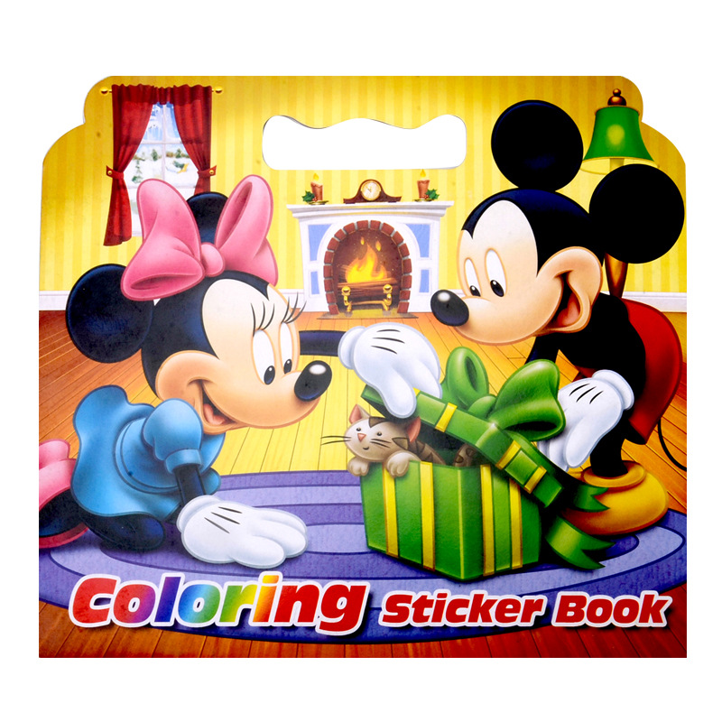 16 Pages Mickey Mouse Coloring Sticker Book For Children Adult Relieve Stress Kill Time Graffiti Painting Drawing Art Book(China (Mainland))