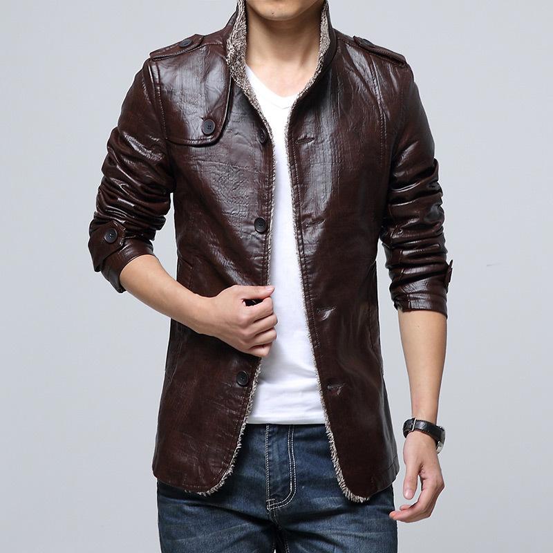 black coffee brown pu leather jacket men winter coat. Black Bedroom Furniture Sets. Home Design Ideas
