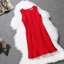 Buy Plus Size 2016 Summer Dress Red Bodycon Dress Flouncing Sleeveless Vest Fishtail A-line Dress Women Dresses Vestidos Femininos for $14.34 in AliExpress store