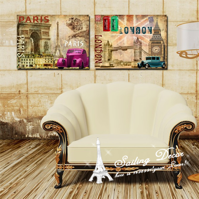Home Decoration 2 Panels Printed Canvas Picture The characteristics of scenery, London and Paris car, phone booth Free Shipping(China (Mainland))