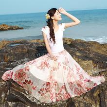 Summer Fashion Women 8 Meters Elastic High Waist Floral print Long Skirts Women Chiffon Pleated Maxi Skirt Midi Saia