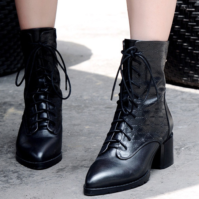 2015 new spring autumn genuine leather ankle boots medium heels black women shoes pointed toe cross lacing zipper ankle boots<br><br>Aliexpress