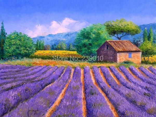 Livraison gratuite gros lavande paysage peinture l 39 huile - Peinture couleur lavande ...