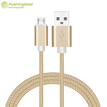 Buy Pushingbest Colorful Nylon Line Metal Plug Charger Cable Micro USB Data Sync Charger Cable xiaomi Samsung Huawei android for $1.20 in AliExpress store