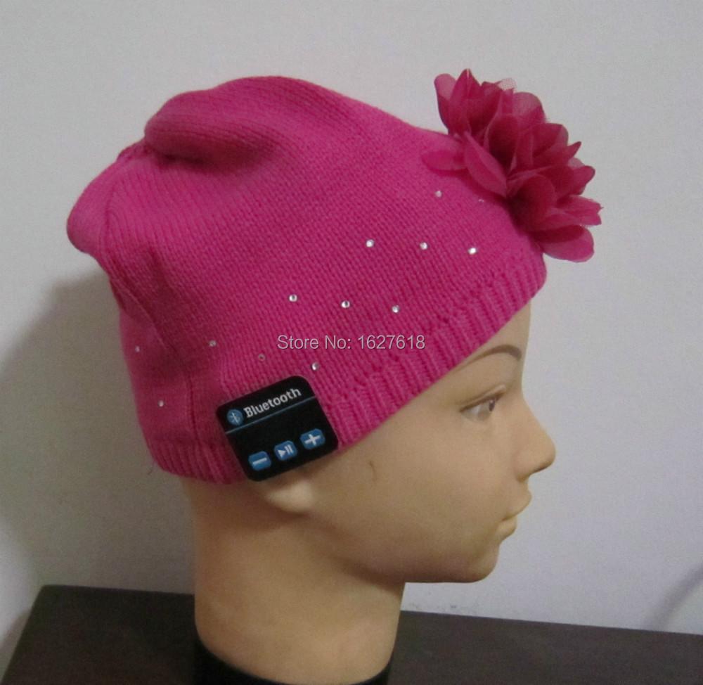 lovely flower hat, bluetooth girl beanies. digital phone hat, school girl daily music hat.(China (Mainland))