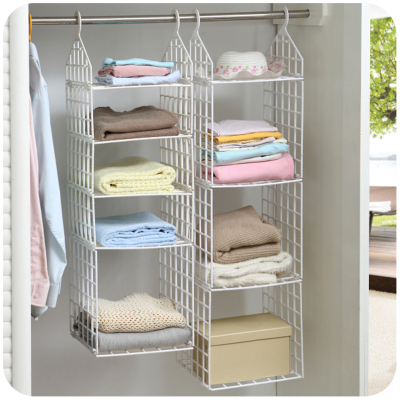 Creative Home Closet Organizer Plastic Folding Storage Shelving Hook Storage Hanging Shelves Clothes Rack Holder(China (Mainland))