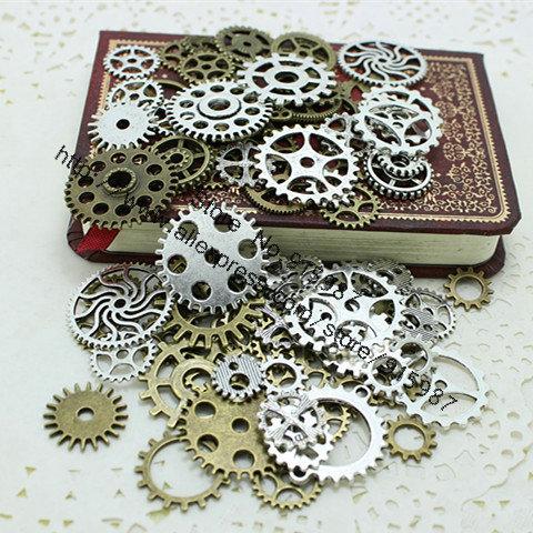 Wholesale Mix 100 pcs two color Charms Gear Pendant Antique bronze Fit Bracelets Necklace DIY Metal Jewelry Making D0352(China (Mainland))