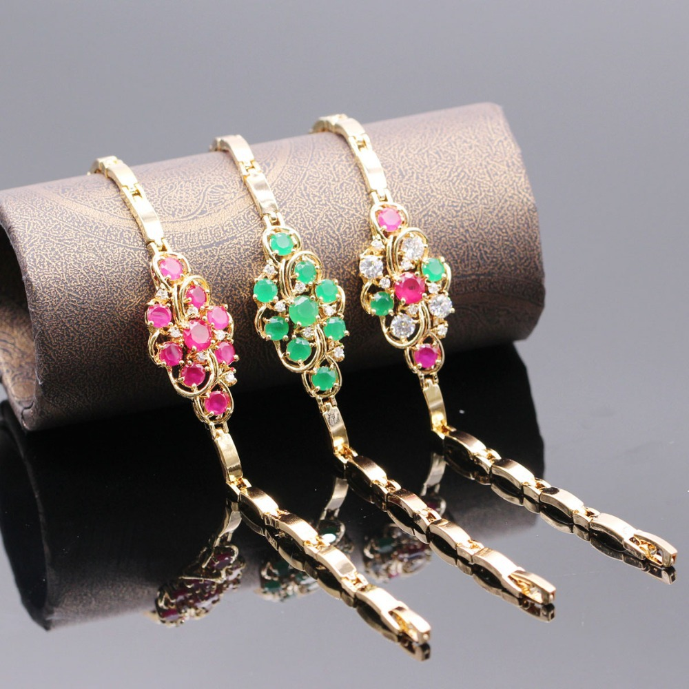 3 Colors Red Ruby Emerald Charm Woman Bracelet 18K Gold Filled White Sapphire Zircon Girl Bracelet Birthday Gift(China (Mainland))