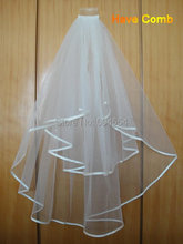 In Stock Wholesale Price Wedding Veil Ivory/White Tulle Silk Ribbon Bridal Accessories Two Layer Bridal Veil With Comb(China (Mainland))