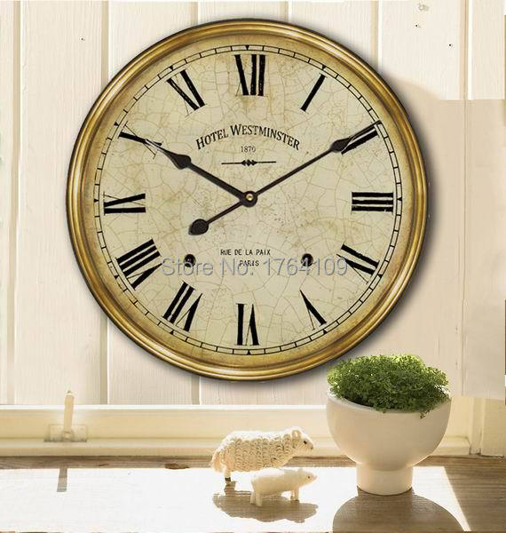 Decorative Wall Clock Instructions : Home decor wooden wall clock cm antique style mute wood