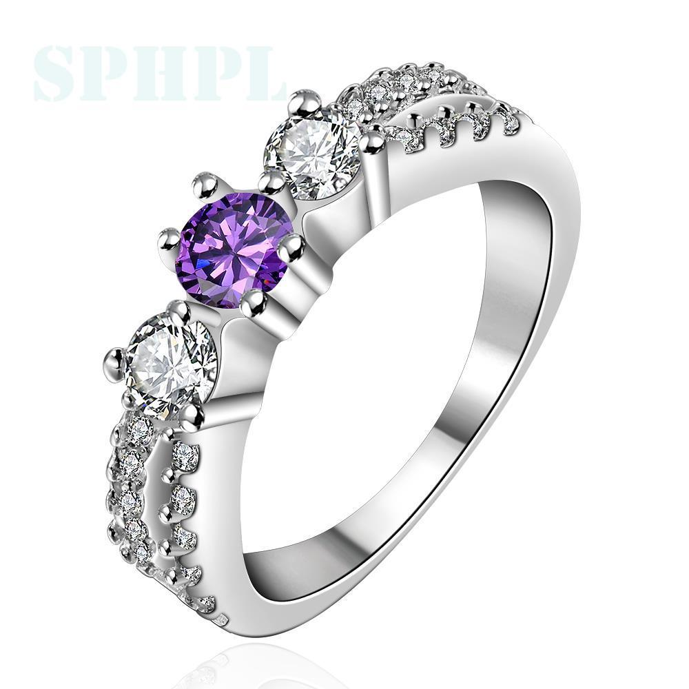 R400 Silver plated new design finger ring for lady Fashion silver round zircon ring Ms. Daily/outdoor ring Free postage(China (Mainland))