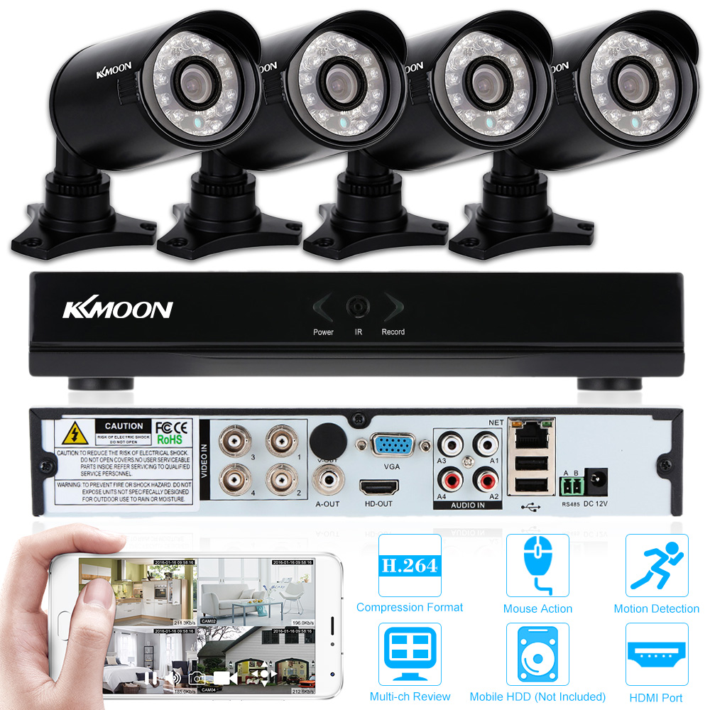 KKMOON 4CH 960H DVR Kit Outdoor 800TVL Security Camera System Kit 4CH DVR Waterproof Night Vision CCTV Camera DVR Kit Euro Stock(China (Mainland))