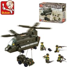 Sluban B6600 370Pcs Educational Toys DIY Military Army Aerotransport Helicopter Building Block Toy Compatible With Decool Gifts