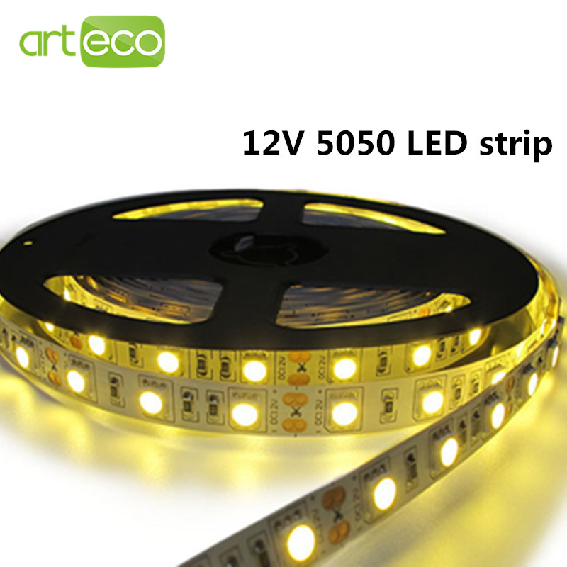 DC12V SMD 5050 LED Strip lights IP20 non-waterproof 60leds/m 5m/roll LED strip 5050 Free shipping(China (Mainland))