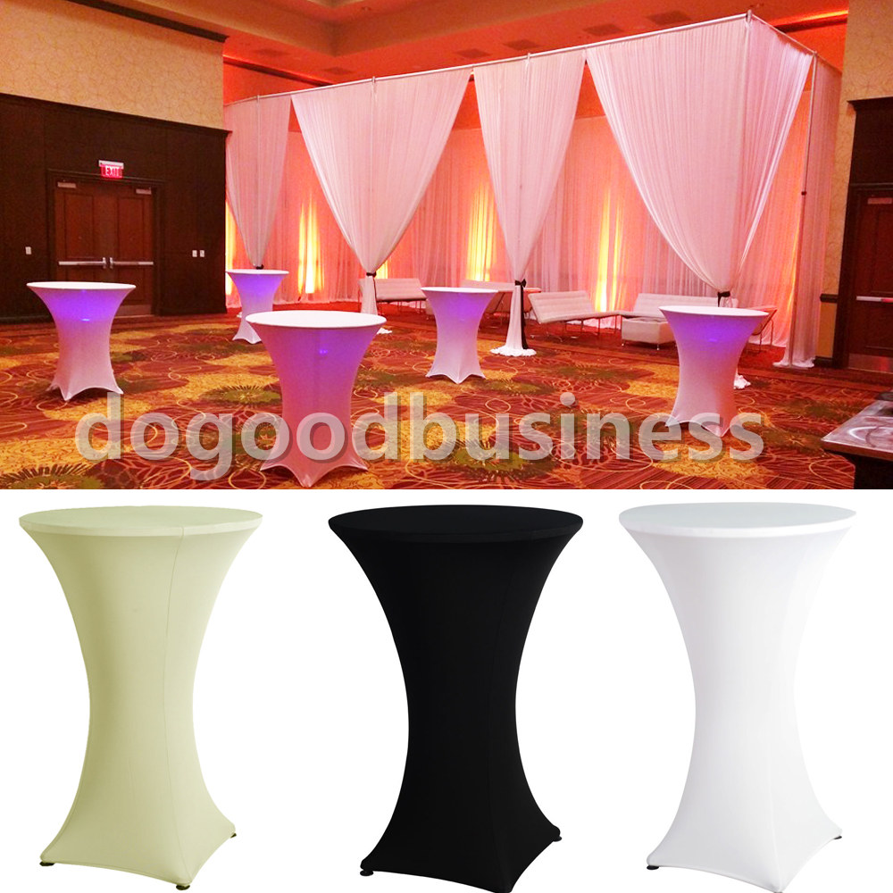 10pcs / Pack Spandex Lycra Cover Tablecloth For 4 Leg 60cm Poseur Cocktail Bar Table Wedding Party Event Decorations(China (Mainland))