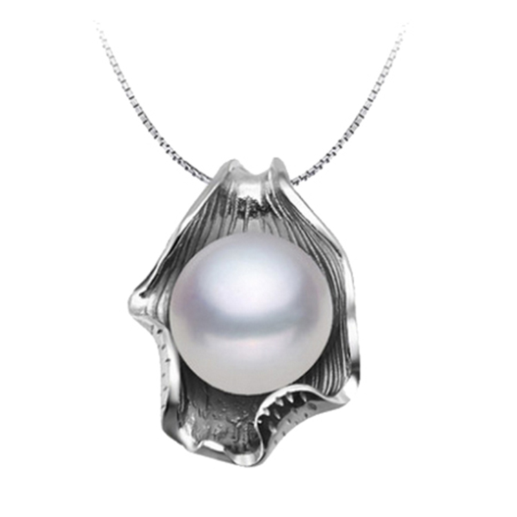 Fashion 10-11mm natural freshwater pearl necklace amp pendant for women 18k white gold plated white/pink/purple(China (Mainland))