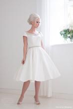 Simple A-line Wedding Dress Short Sleeve V-neck Front And Back Knee Length Elegant Bridal Gown Satin NM 518(China (Mainland))