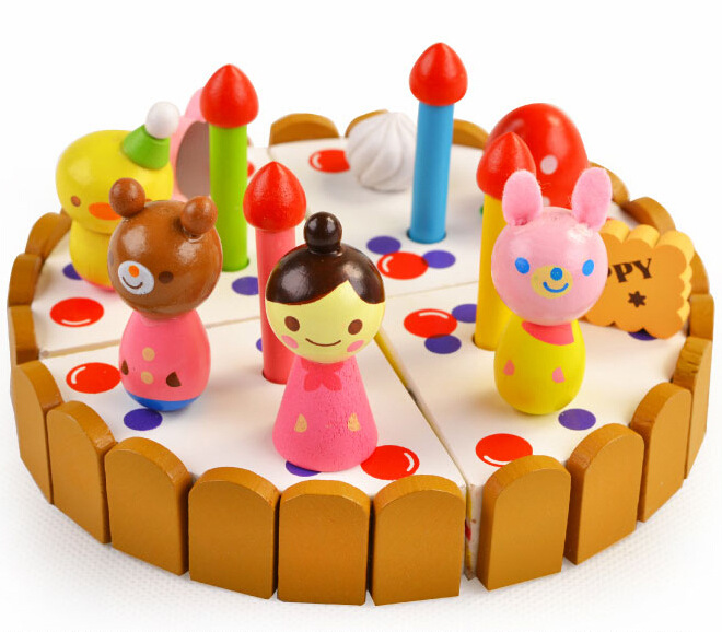 Classic Toys Pretend Play Kitchen Pink/Blue Cake For Girls Kitchen Wooden Toys(China (Mainland))