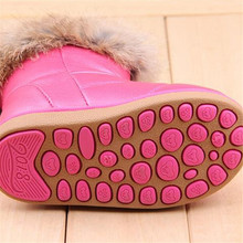 2015 TOP Designers EU21 30 Of Rabbit Hair Children Snow Boots Warm Winter Plush Kids Boots