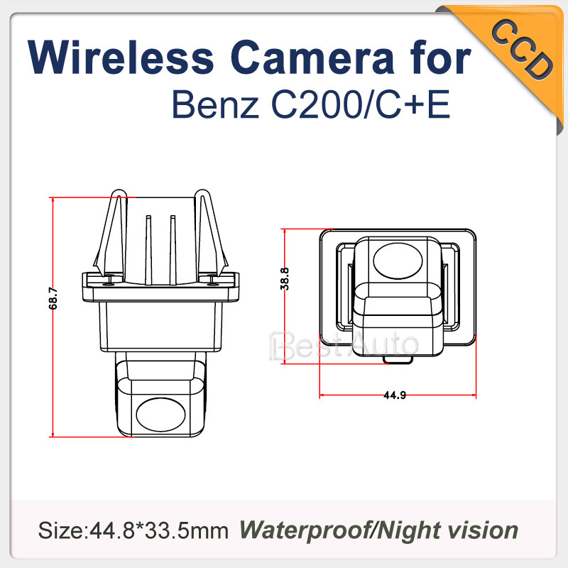 Wireless Car reversing Camera For BENZ CE !170 degree Night vision Waterproof HD CCD rear view back up car camera Security(China (Mainland))