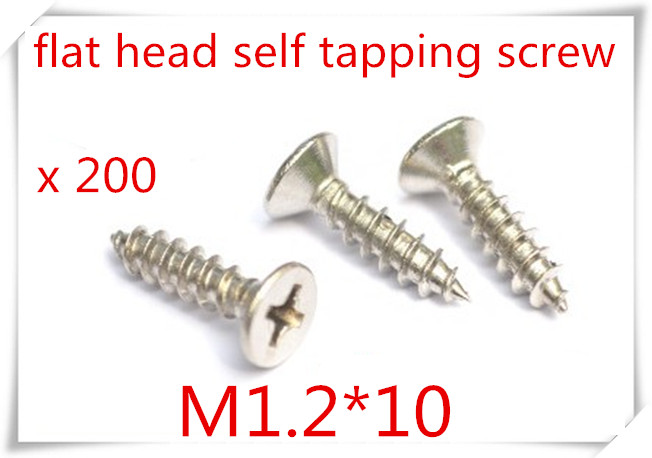 200pcs DIN7982 M1.2*10 Stainless Steel 304 Phillips Cross Recessed Countersunk Head Tapping Screw<br><br>Aliexpress