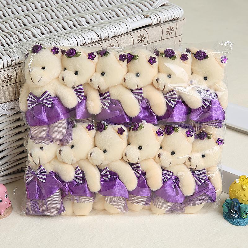 Wholesale 12PCS/lot 12CM Bear lovely girls plush toy doll stuff&plush mini bouquets bear toy for promotional gift(China (Mainland))