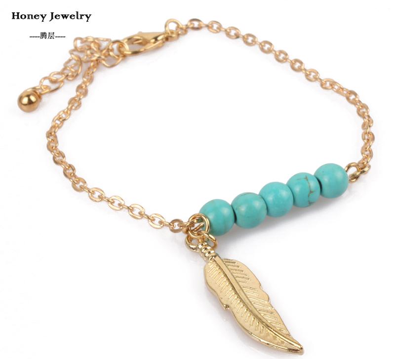 feather charm bracelets turquoise bead new fashion popular