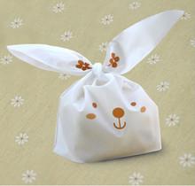 20 teile/los niedlichen kaninchen ohr cookie taschen selbstklebende Plastiktüten für Kekse Snack Backen Paket lebensmittel tasche(China (Mainland))