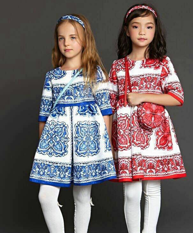 2015 New Autumn Winter Girl Dress 3/4 Sleeve Baby Girls dress Kids Clothes Pattern Print A line Dobby Birthday Dress for Kids(China (Mainland))