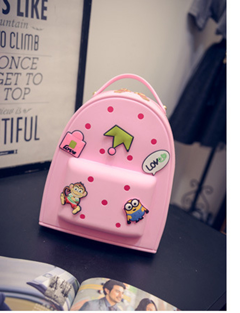 New lady jelly shoulder bag fashion candy color silicon rubber handbag cute colorful cartoon bags HB41210(China (Mainland))