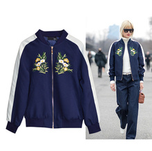 2016 Fashion star flower embroidery stripe color short jacket female baseball uniform coat women bomber outerwear
