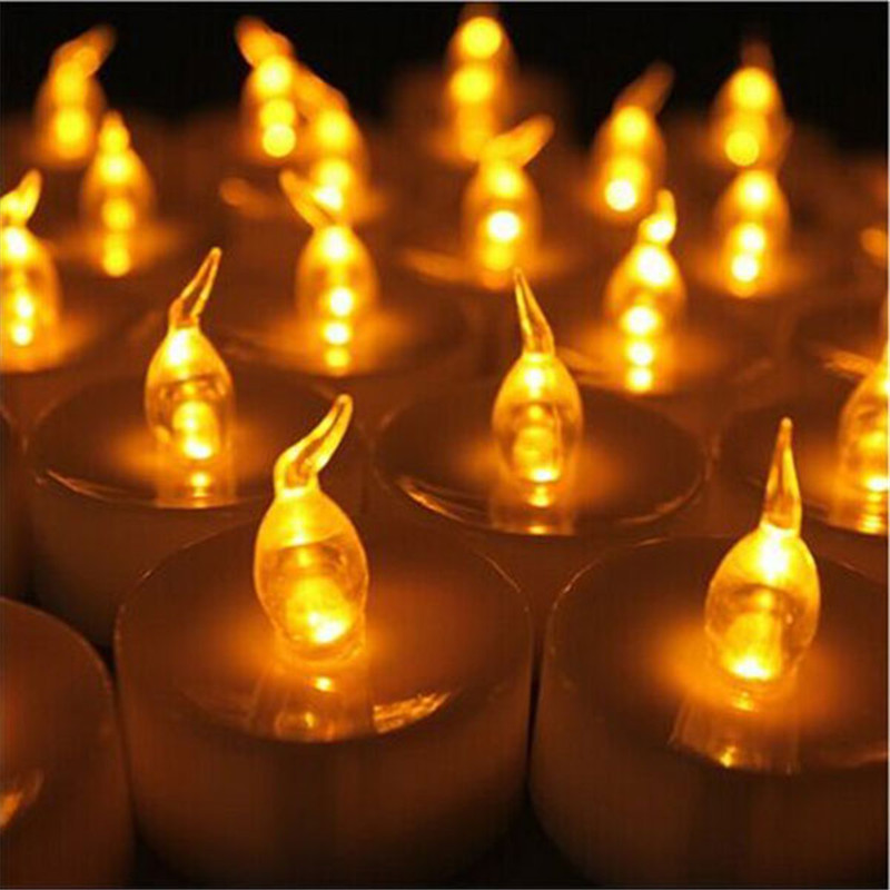 Fake Candle Wall Lights : 24 pcs Amber Yellow Glow Blink Fake Candle Battery Operated Pillar candle Cheap Led Candle ...