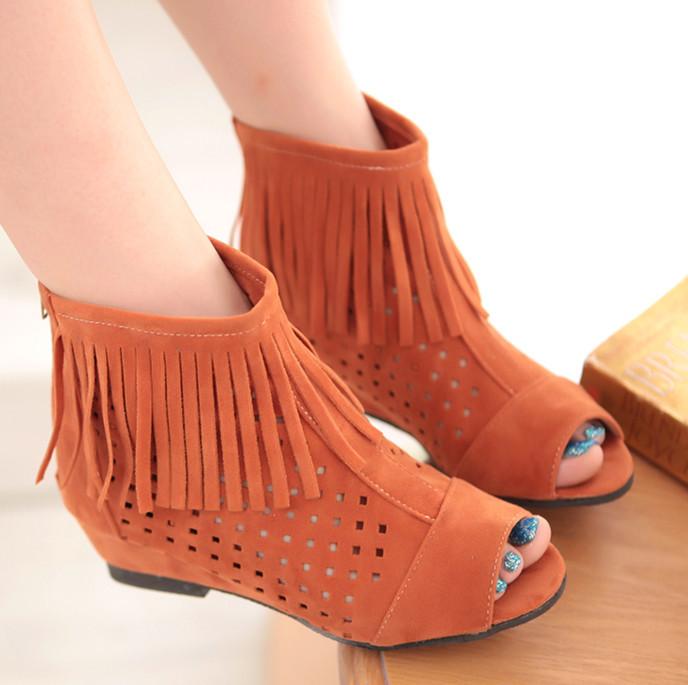 ENMAYER  Big Size  Womens Summer Boots Flats Low Hidden Wedges Cutout Ankle Boots Ladies Dress Casual Shoes Hot sale Cute Flock<br><br>Aliexpress