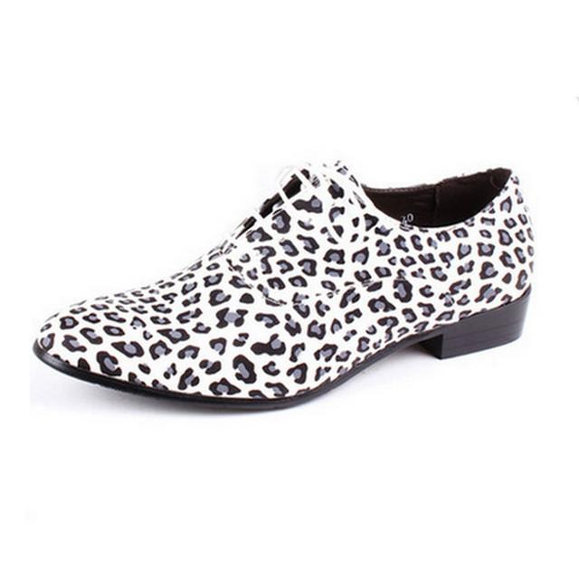 Новое прибытие леопардовым принтом мужчины oxfords обувь мокасины острым носом британский ...