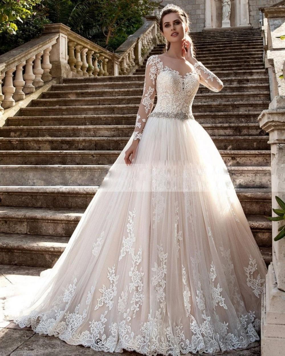 Wedding Dresses Vintage Long Sleeves Vestido de noiva Sheer Tulle Back Lace Appliques Wedding Gowns Bead Belt Bride Dresses Boda(China (Mainland))