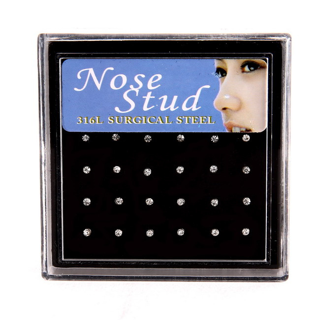 2015 hot sale Nose Ring Fashion Body Jewelry Nose Studs Stainless Surgical Steel Nose Piercing Crystal Stud(China (Mainland))