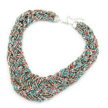 6 Color 2015 Fashion Summer Jewelry Bohemia Choker Necklace Colorful Hand Weaving Glass Beads Chunky Collar Necklace For Women(China (Mainland))