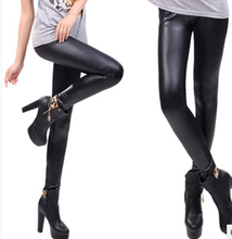 New 2015 Free shipping Spring candy elastic waist Slim classic fashion high elastic Faux Leather pants print Leggings women A239(China (Mainland))