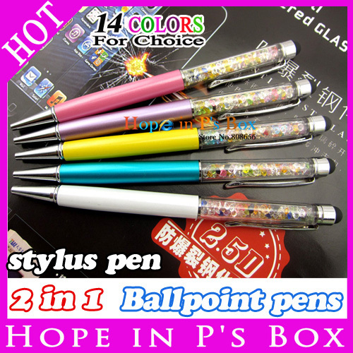 4pc 2 in 1 Crystal Capacitive Touch Stylus Ballpoint Pen for ipad iPhone HTC Samsung Stylus pen touch pen for Capacitive screen(China (Mainland))