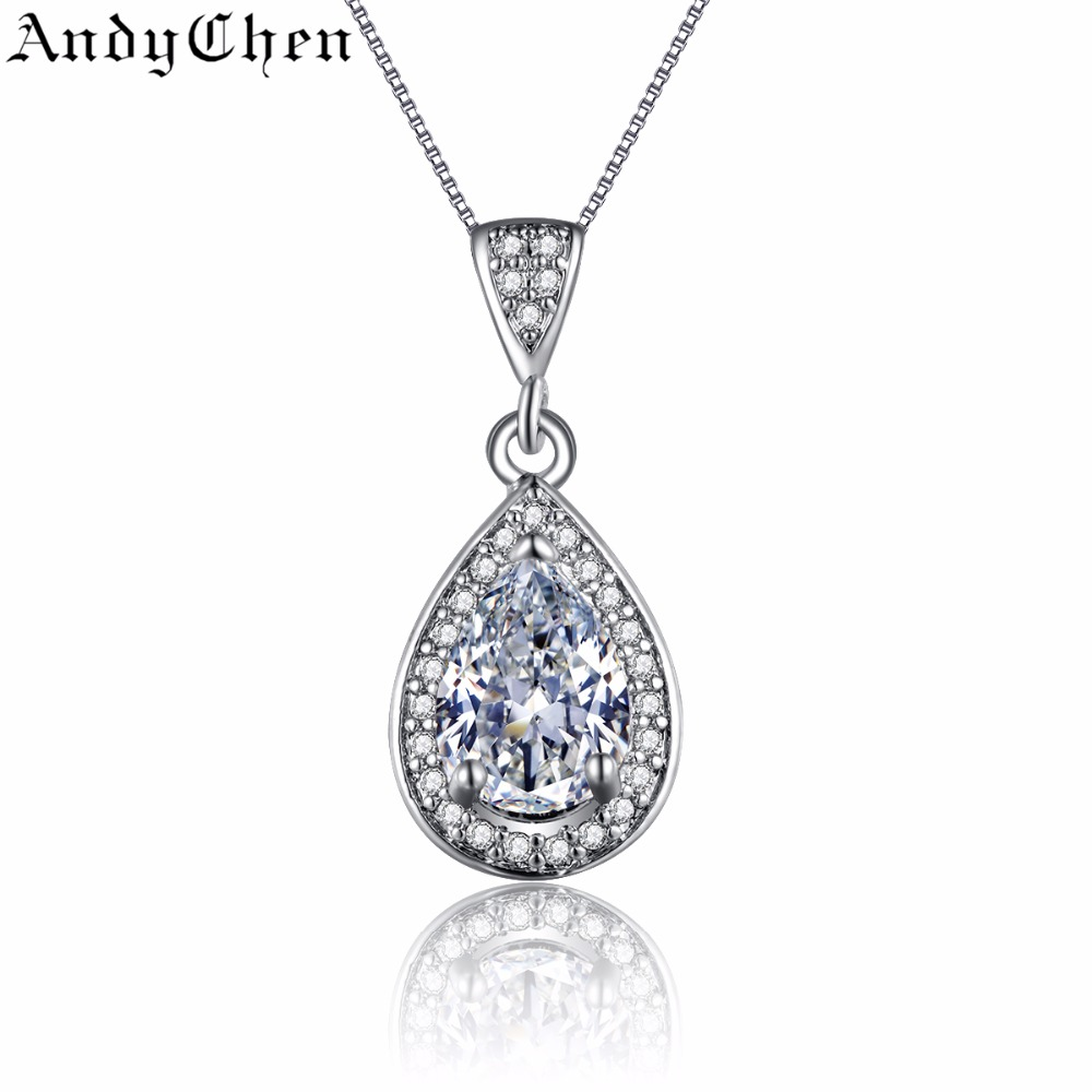 925 Silver Filled Jewelry Vintage Slide Necklaces & Pendants for Women Water Drop Crystal Bijoux Femme Accessories ASN003(China (Mainland))