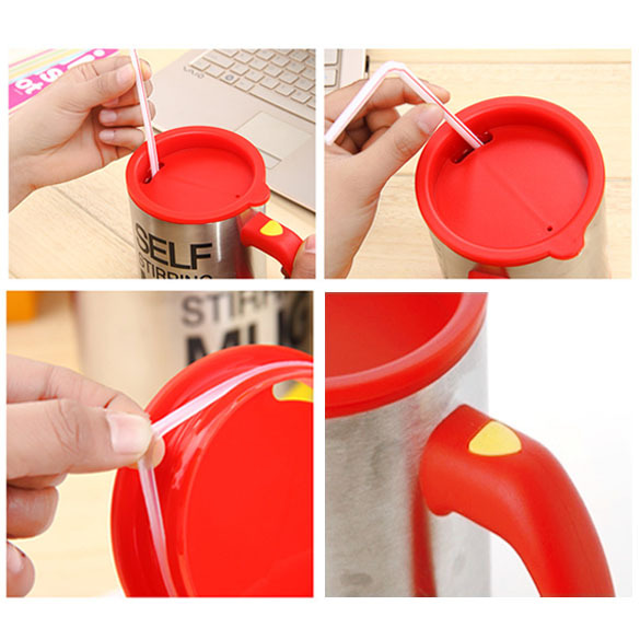 Innovative Stainless Lazy Self Stirring Mug Automatic Mixing Coffee Cup Red V3NF