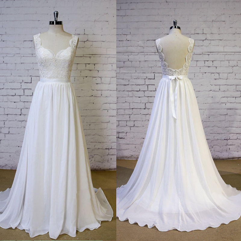 Fashion romantic beach wedding dress 2016 v neck lace for Backless beach wedding dresses