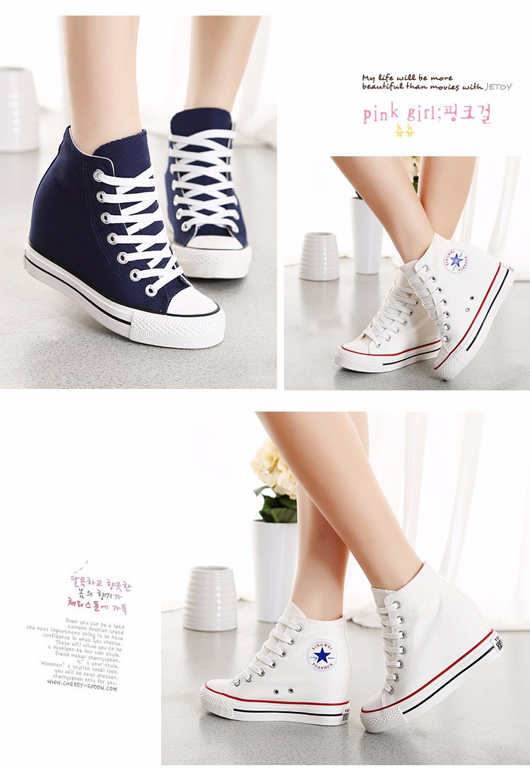 Fashion Women Wedge Canvas Shoes Platform Casual Shoes White Summer Stars Sexy Wedges Heighten Zapatos Mujer Basket Femme