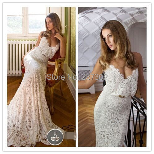 Vintage Julie Vino Lace Mermaid Wedding Dress 2015 Sweetheart Spaghetti Belt Long Bridal Gowns