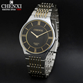 Golden New Clock Men s Super Slim Case Quartz Watches CHENXI 030A Gold watch men full