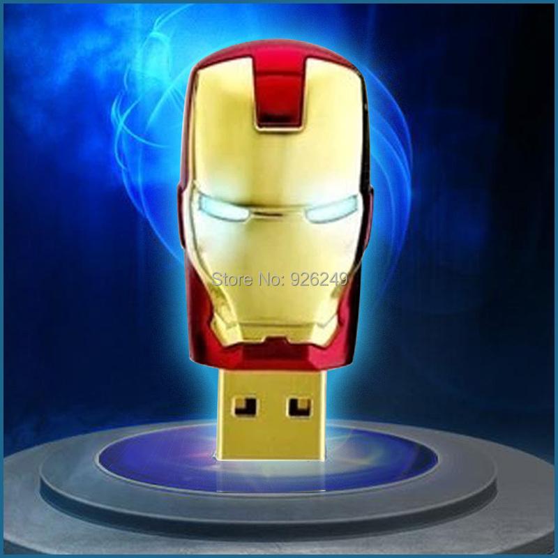 Pass H2testw 8GB 16GB 32GB Iron Man 64GB USB flash drive led light memory stick usb stick Ironman pen drive external storage(China (Mainland))